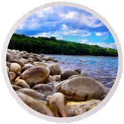 Round Beach Towel featuring the photograph Stone Beach by Zafer Gurel