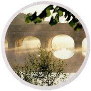 Stone Bridge In Fog, Loire Valley Round Beach Towel