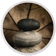 Stone Cairns II Round Beach Towel by Marco Oliveira