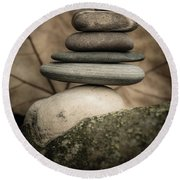 Stone Cairns Iv Round Beach Towel by Marco Oliveira