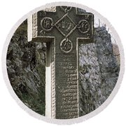 Stone Cross At A Castle, Bran Castle Round Beach Towel