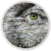 Stone Face Round Beach Towel