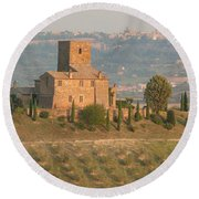 Round Beach Towel featuring the photograph Stone Farmhouse by Marcia Socolik