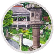 Stone Lantern Round Beach Towel by Mike Robles