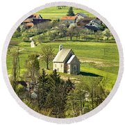 Stone Made Church In Green Nature Round Beach Towel