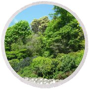 Stone Wall 2 Round Beach Towel by David Trotter