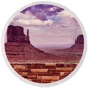 Stone Wall Monument Valley Round Beach Towel