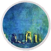 Stonehenge In Moonlight Round Beach Towel