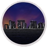 Round Beach Towel featuring the photograph Stonehenge Looking Moody by Terri Waters