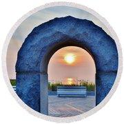 Sunrise Through The Arch - Rehoboth Beach Delaware Round Beach Towel