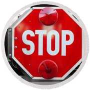 Stop Bw Red Sign Round Beach Towel