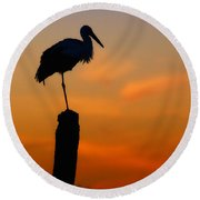 Storck In Silhouette High On A Pole Round Beach Towel