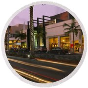 Stores On The Roadside, Rodeo Drive Round Beach Towel by Panoramic Images