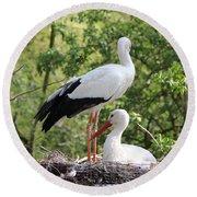 Storks Nesting Round Beach Towel