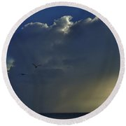 Round Beach Towel featuring the photograph Storm Across Delaware Bay by Ed Sweeney