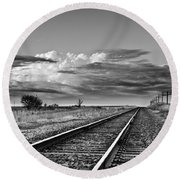 Storm Cloud Above Rail Road Tracks Round Beach Towel