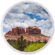 Storm Clouds Over Cathedral Rocks Round Beach Towel by Jeff Goulden