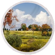 Round Beach Towel featuring the photograph Storm Clouds Over Country Landscape by Christina Rollo