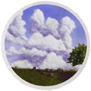 Storm Clouds Over Maine Blueberry Field Round Beach Towel