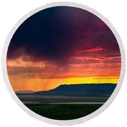 Storm Clouds Over Square Butte Round Beach Towel