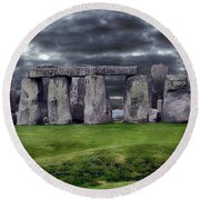 Storm Clouds Over Stonehenge Round Beach Towel