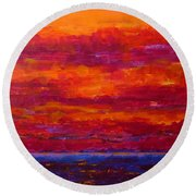 Storm Clouds Sunset Round Beach Towel
