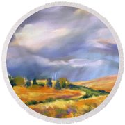 Round Beach Towel featuring the painting Storm Colors by Rae Andrews