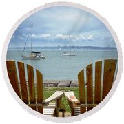 Storm Coming Round Beach Towel by Mike Ste Marie