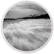 Storm Front On The Beach Round Beach Towel