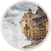 Storm In Camogli Round Beach Towel