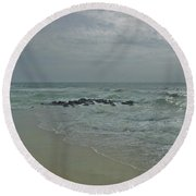 Storm In May Round Beach Towel
