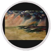 Storm In The Heartland Round Beach Towel