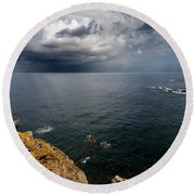 A Mediterranean Sea View From Sa Mesquida In Minorca Island - Storm Is Coming To Island Shore Round Beach Towel