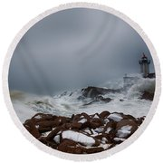 Storm Off Eastern Point Lighthouse Round Beach Towel