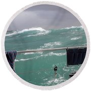 Storm On Tasman Sea Round Beach Towel
