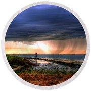 Storm On The Bay Round Beach Towel