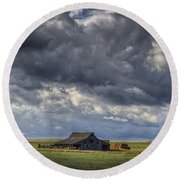 Storm Over Barn Round Beach Towel