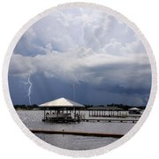 Storm Over Clay Lake Round Beach Towel by Rosalie Scanlon