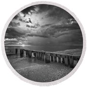 Storm Over Naples Florida Beach Round Beach Towel