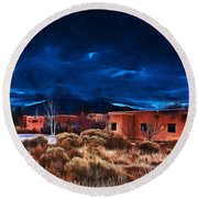 Storm Over Taos Lx - Homage Okeeffe Round Beach Towel