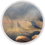 Storm Over The Grand Canyon Round Beach Towel