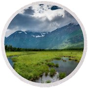 Storm Over The Mountains Round Beach Towel