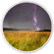 Storm Over The Wheat Fields Round Beach Towel