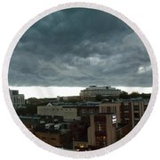 Round Beach Towel featuring the photograph Storm Over West Chester by Ed Sweeney