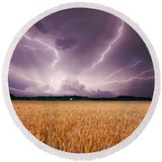 Storm Over Wheat Round Beach Towel by Alexey Stiop