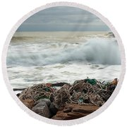 Storm Surf At Rye Beach Round Beach Towel