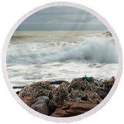 Storm Surf At Rye Beach Round Beach Towel by Sharon Seaward