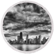 Storms Over Chicago Round Beach Towel