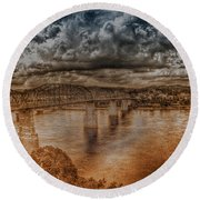 Round Beach Towel featuring the photograph Stormy Clouds by Dennis Baswell