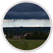 Stormy Countryside Round Beach Towel